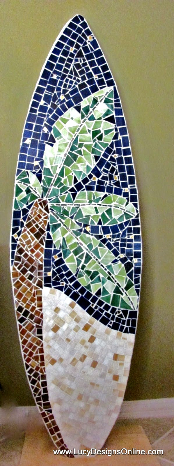 stained glass mosaic surfboard with palm tree