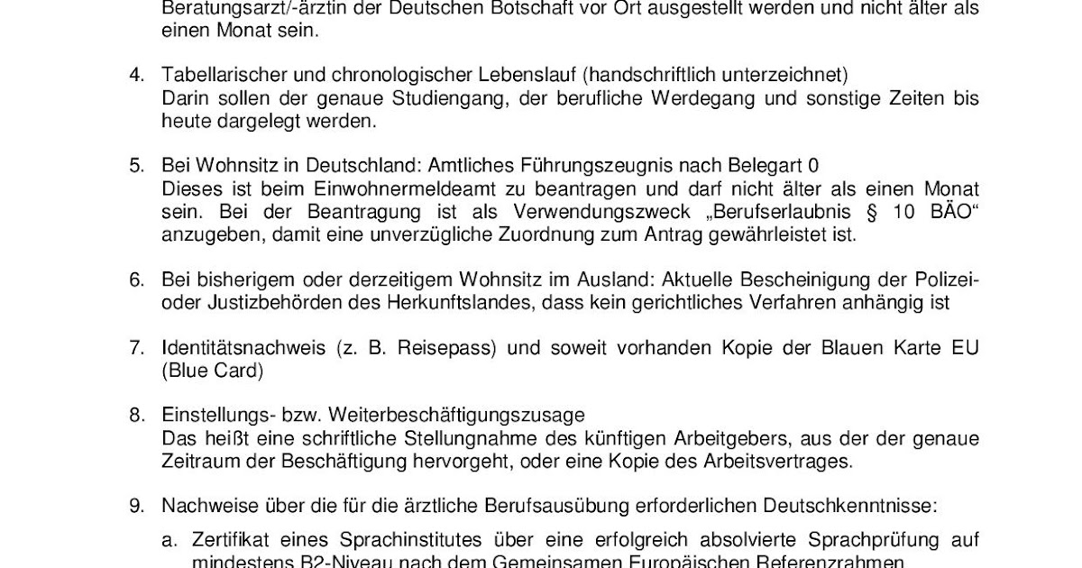 PG in Germany: Checklist of required Documents for Berufserlaubnis ...