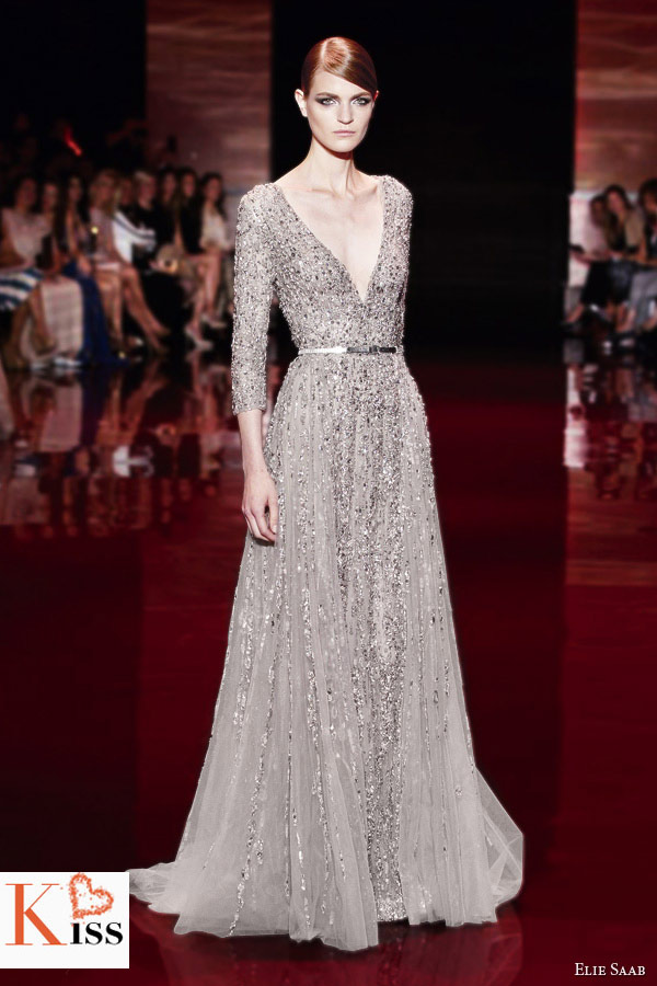 Light Grey Elie Saab Fall/Winter 2013-2014 Couture
