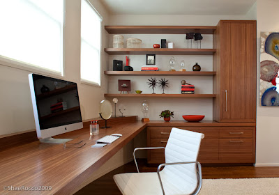 closer look to the home office reveals clean line, beautiful wood texture and modernity