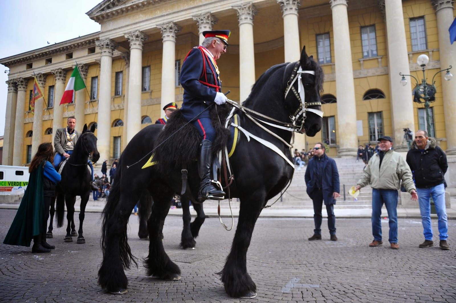 Fabulous horses in front of Palazzo Barbieri in Verona