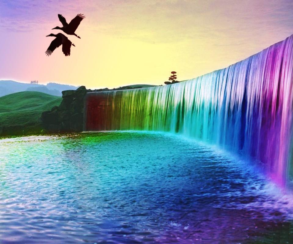 rainbows and waterfalls wallpaper wwwimgkidcom the