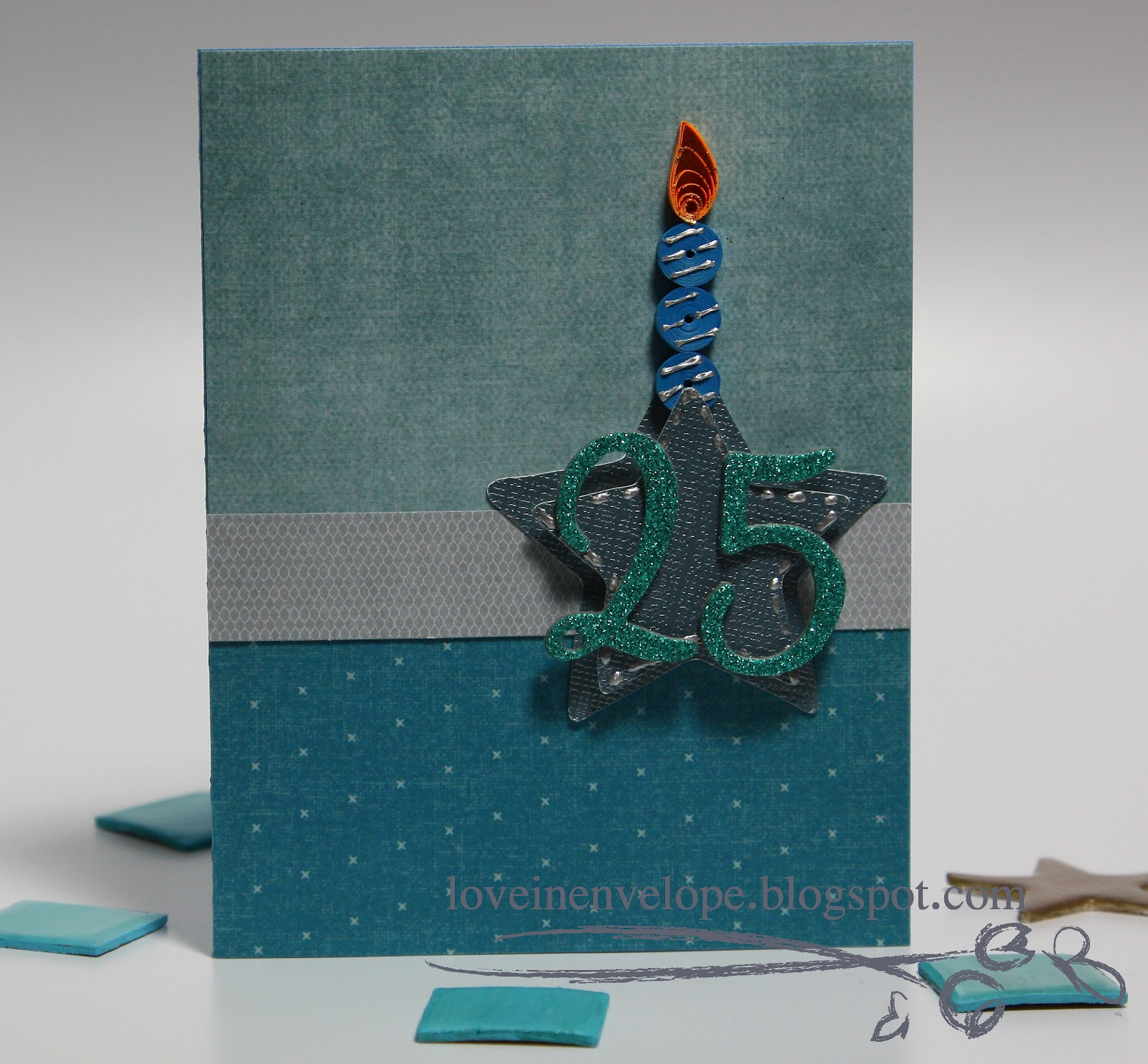Love In Envelope Guys 25th Birthday Card With Quilled Candle