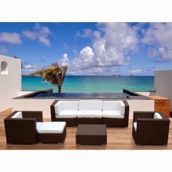Outdoor Patio PE Resin Wicker Furniture All Weather 7pc Vila Deep Seating New Sectional Sofa Set