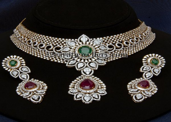 Splendid Diamond Ruby Choker