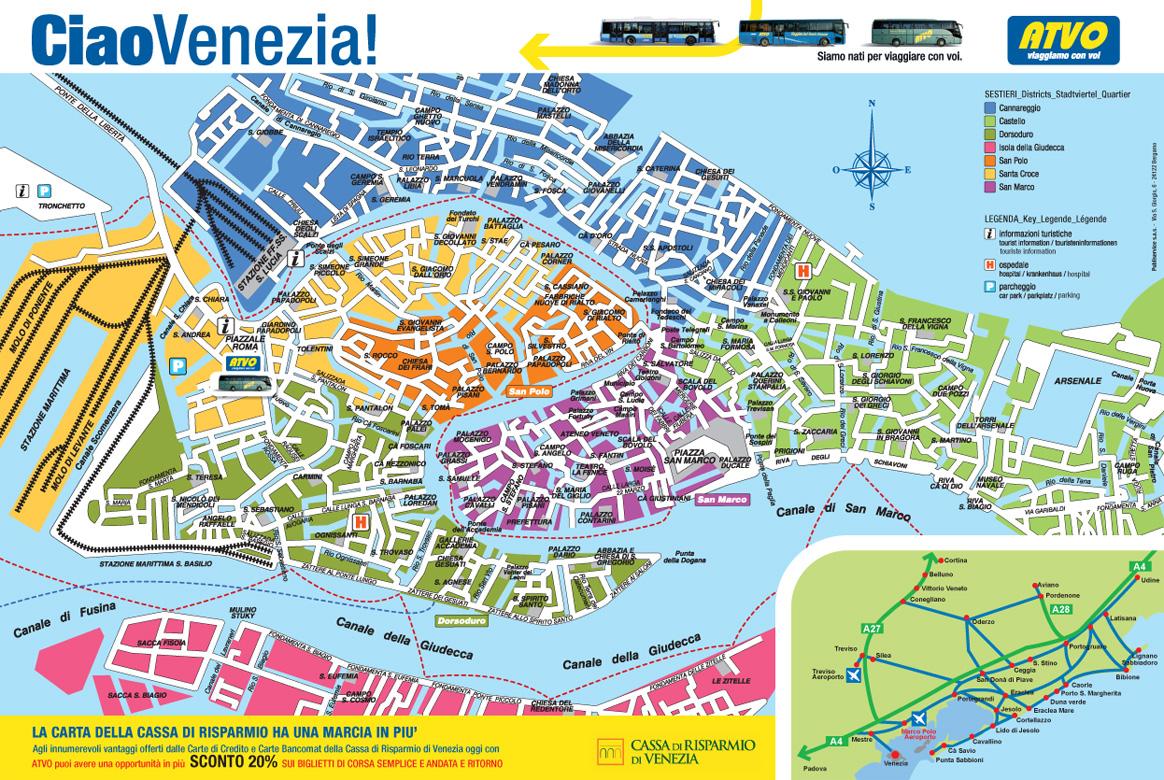 Map Of Venice Italy - Piantina Venezia