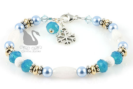 Winter Wonderland Snow Jade Snowflake Charm Beaded Bracelet (B169)