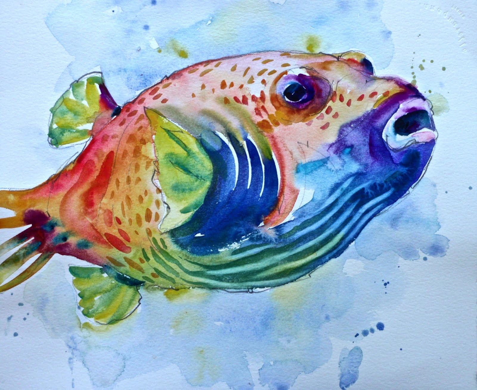 David lobenberg more fish in my net for Watercolor fish painting