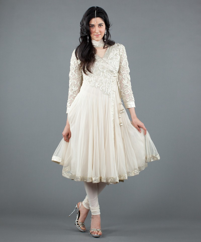 p 31 a w white and silver gota angrakha salwar 2 - White Dresses