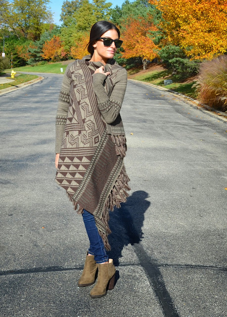long fall sweater, joie blouse, zara booties, blank nyc denim
