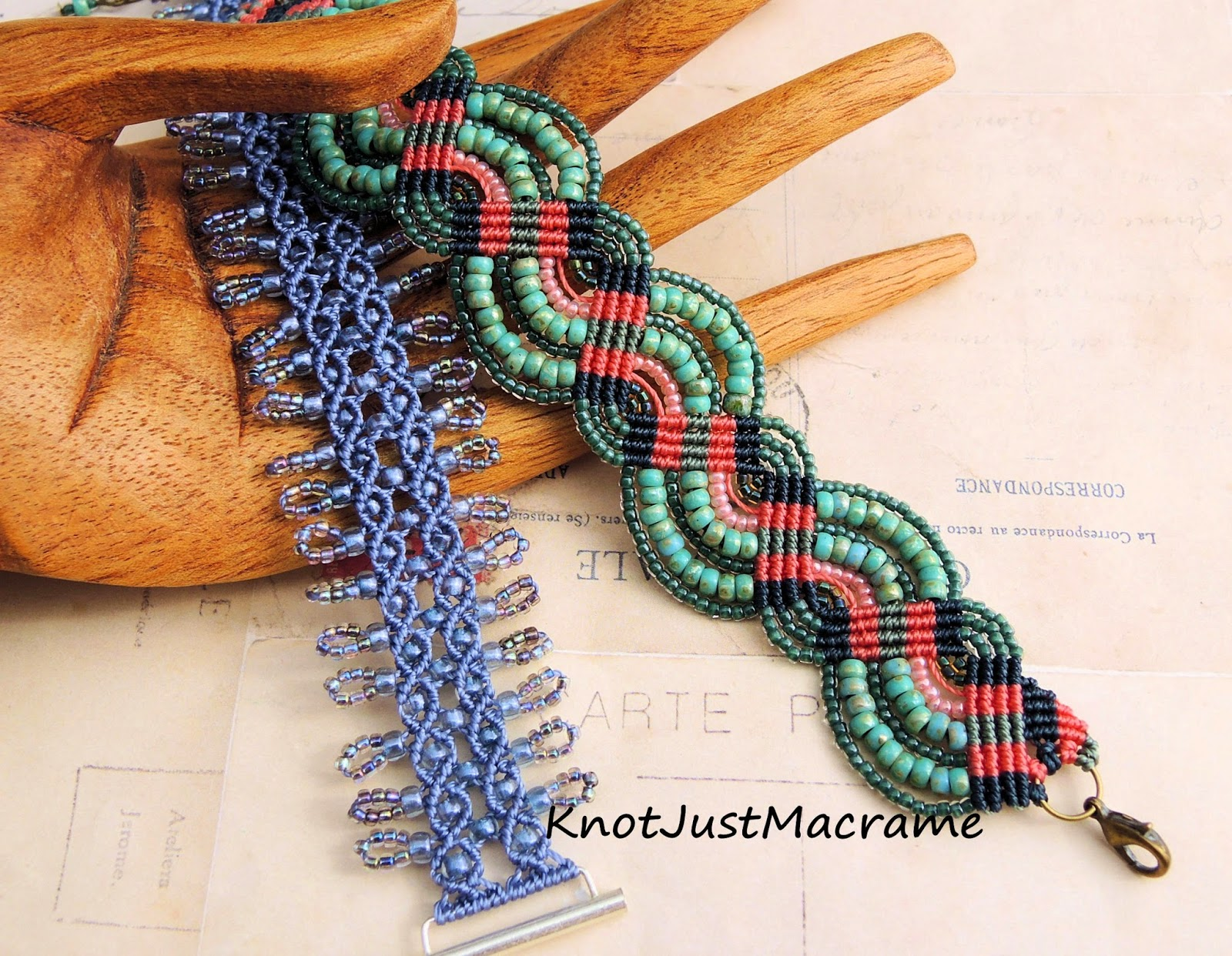 Two micro macrame bracelets from Knot Just Macrame