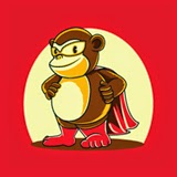 Vector stock of a cute monkey wear a superhero costum