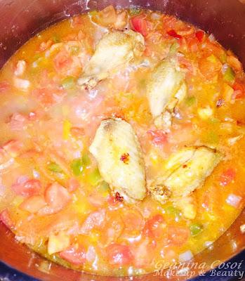 Guiso con pollo y berenjenas - Receta