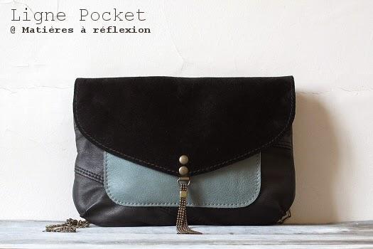 Pochette bicolore cuir bleu céladon et noir