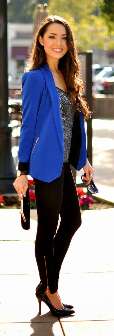 Cobalt Blazer with Sequin Tank , Black Pant and Pumps | Spring Street Outfits