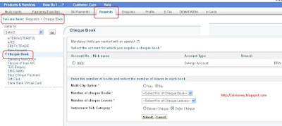 Order Cheque Books Through SBI Online Banking