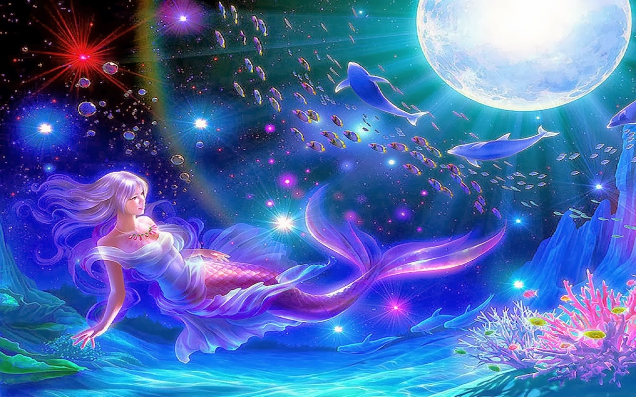 Mermaid Moon Fantasy Widescreen Hd Wallpaper Beautiful