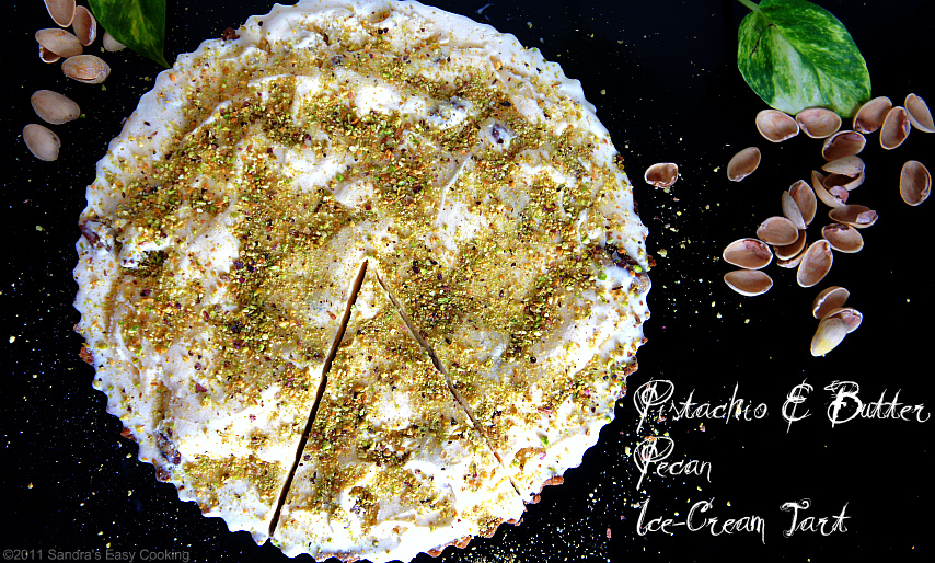 Homemade recipe for Pistachio &amp; Butter Pecan Ice-Cream Tart