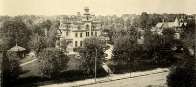 Gray Towers, G.G. Green's Mansion in Woodbury, New Jersey view from Peppermint Hill