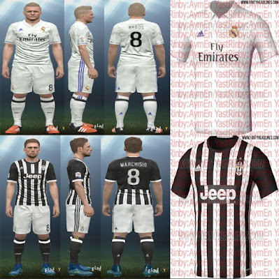 PES 2016 Real Madrid + Juventus 2016-17 Home Kits Leaked by YastRin