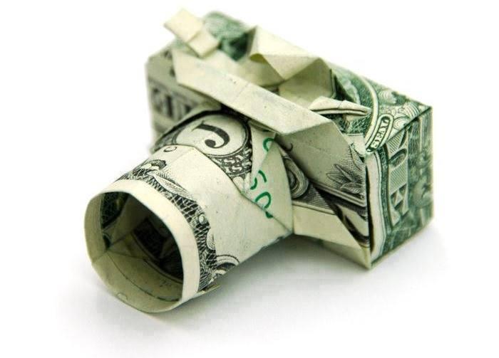 Origami Dollar bentuk kamera
