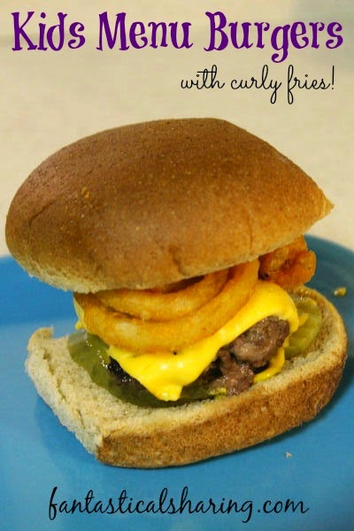 Kid Menu Burgers with Curly Fries | My kids' absolute favorite burger has the fries right inside it #recipe #burger
