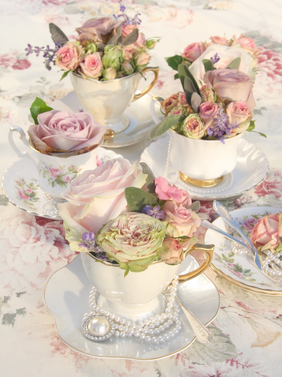 Tea Cup Flower Arrangement 1194 x 1600