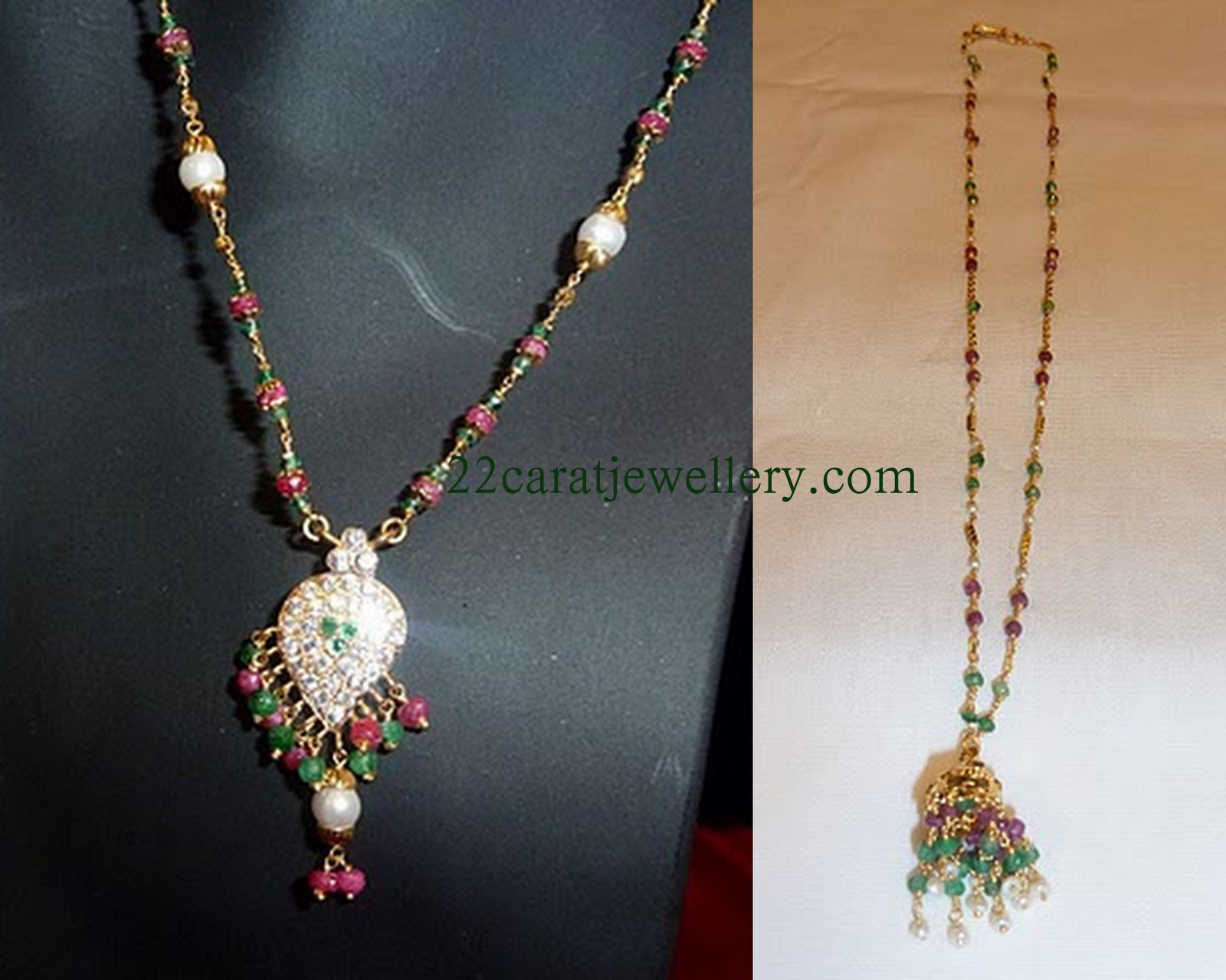 Light Weight Short Necklace Sets (below 10 grams) - Jewellery Designs