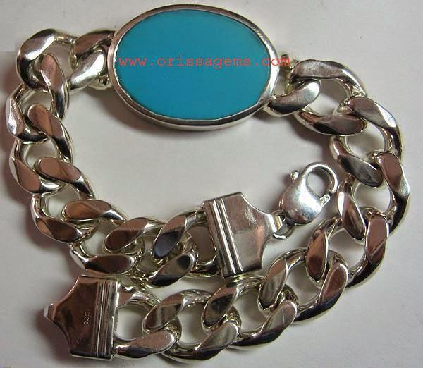 Bracelet Turquoise Firoza shape in  Silver