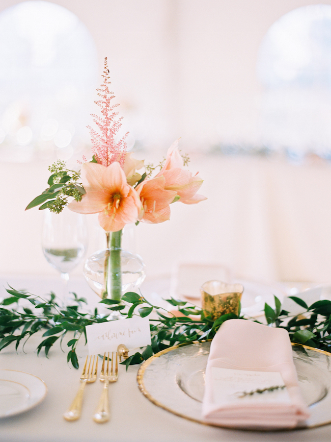 Wedding Seated Dinner Gold And Blush Accented Place Setting