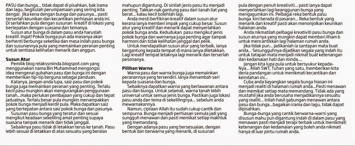 Artikel Relaks Minda Diterbitkan di Akhbar!