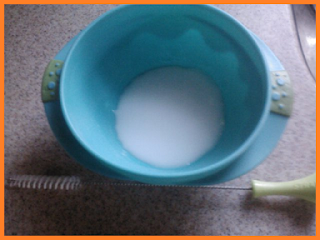 A blue bowl holding baking soda mixed with water at the top, and a straw cleaning brush with a green handle below.