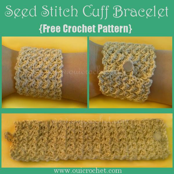 #OuiCrochet, Crochet, Free Crochet Pattern, Crochet Seed Stitch Cuff, Crochet Jewelry, Crochet Bracelet,