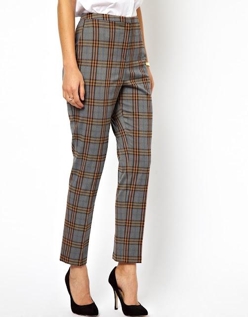 grey tartan check trousers