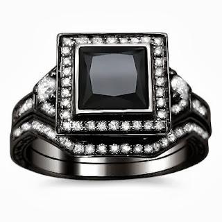 Princess Cut Black Diamond Engagement Ring Bridal Set
