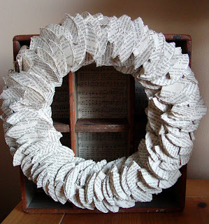 wreath make out of book page circles