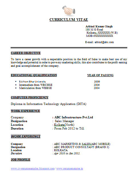 Over 10000 cv and resume samples with free download ba resume format place kolkata arbind kumar singh yelopaper Choice Image
