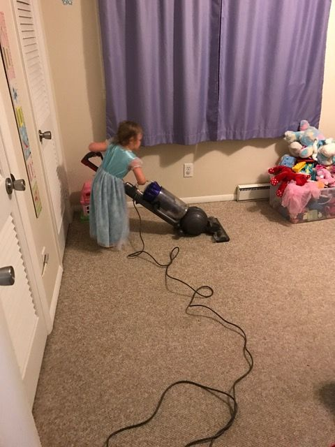 Princess vacuuming