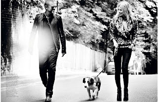 Kate Moss and George Michael walking a dog
