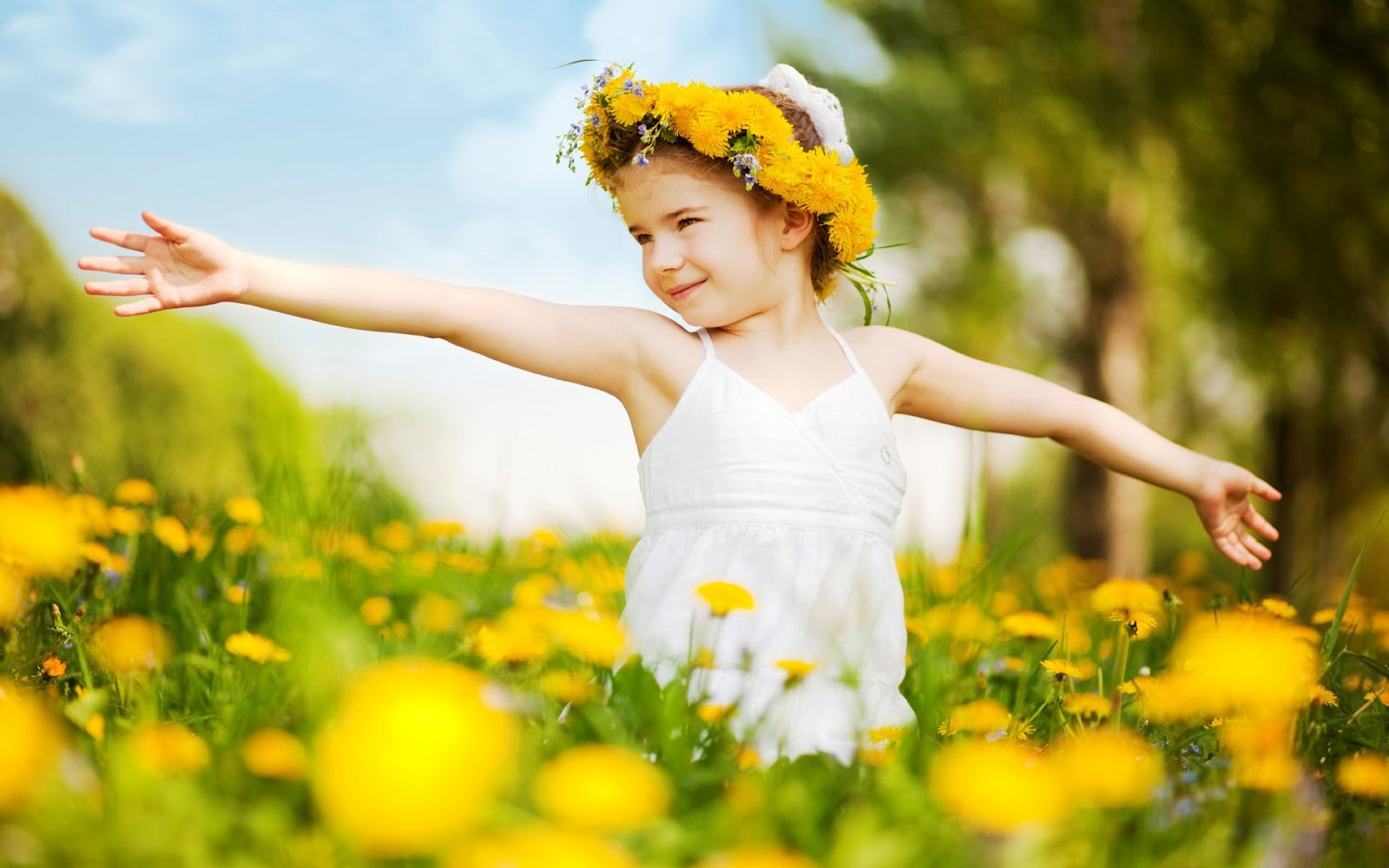 cute baby: cute little girl with yellow flowers hd wallpaper