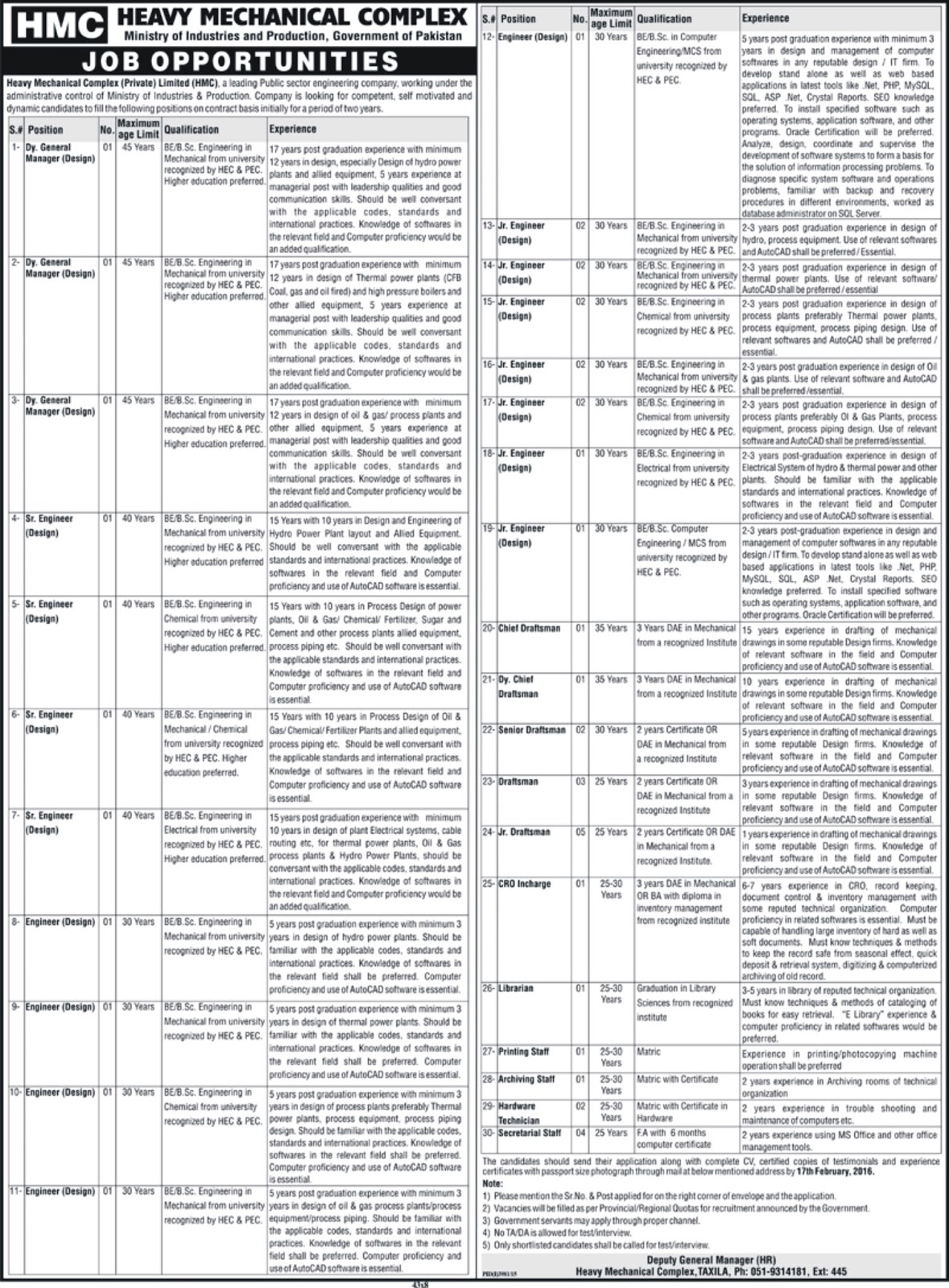 BE and DAE Jobs in HMC Heavy Mechanical Complex Jobs 2016