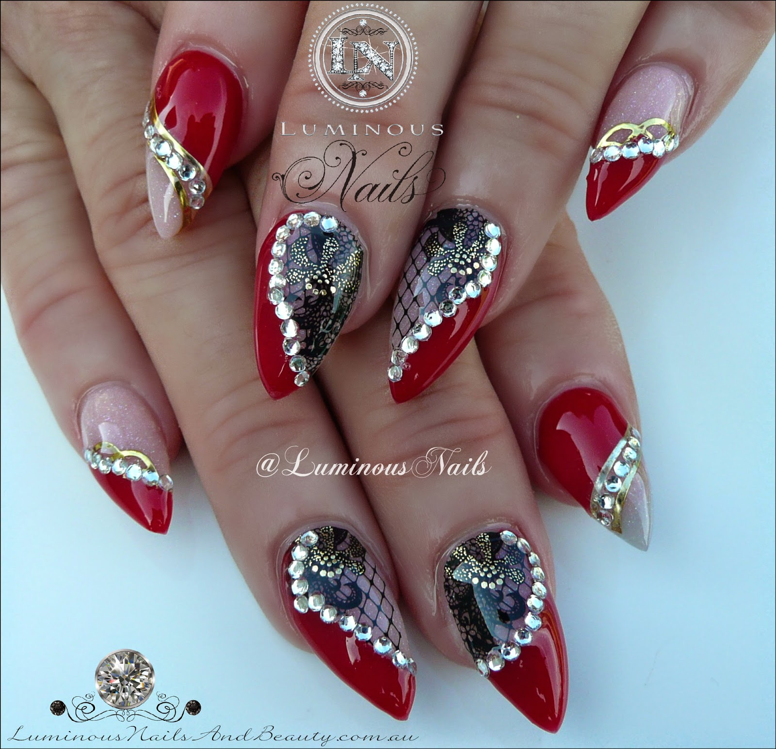 luminous nails: red, black & gold nails