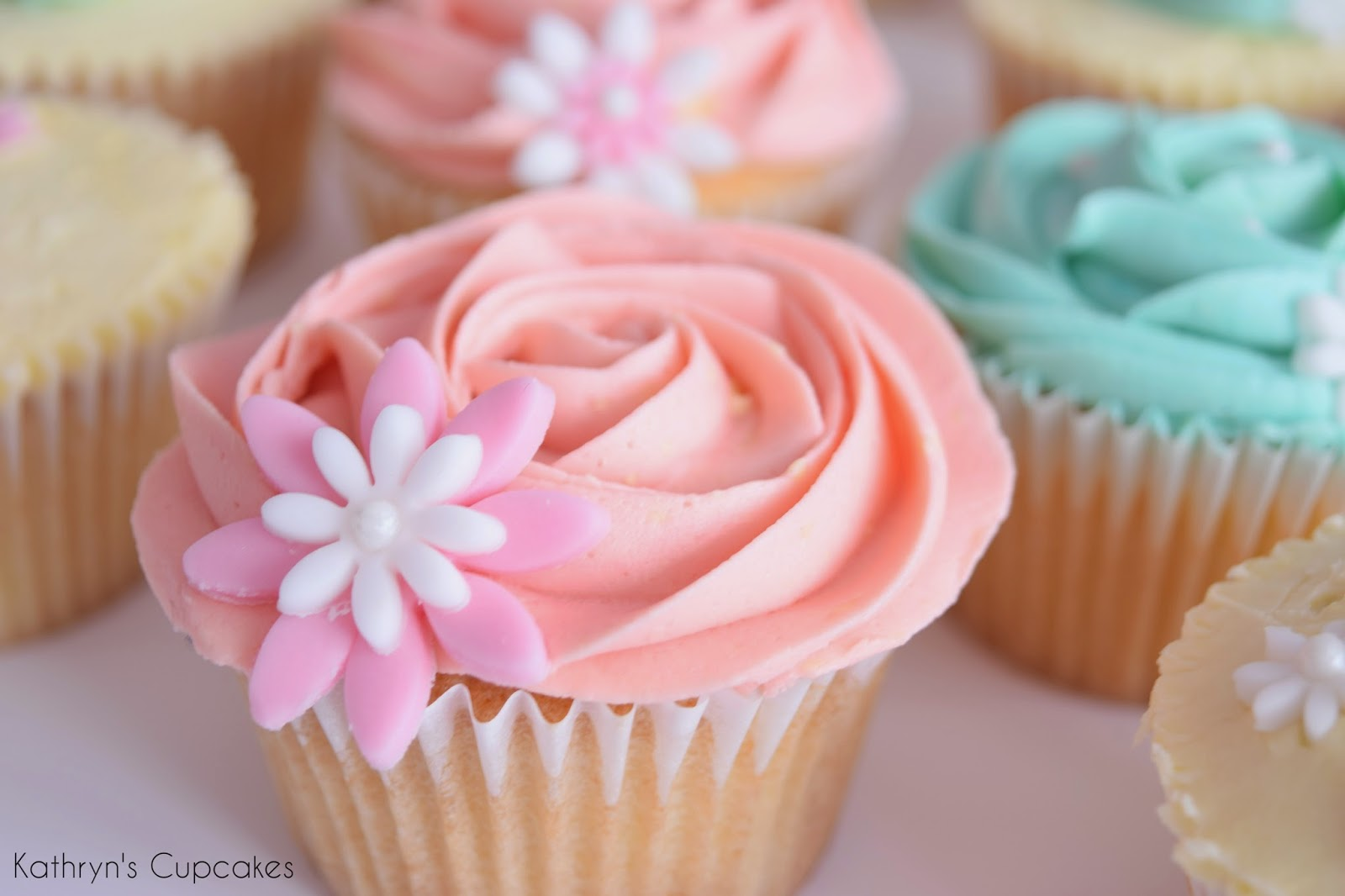 Cupcakes, 18th, Birthday, Pink, Girls, Blue, Pastel, Flowers