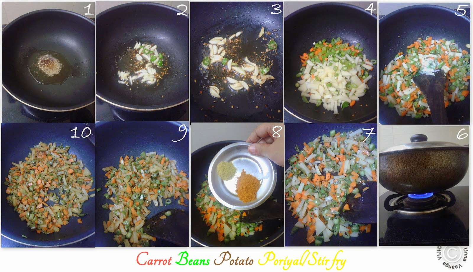 Carrot Beans Potato Stir fry