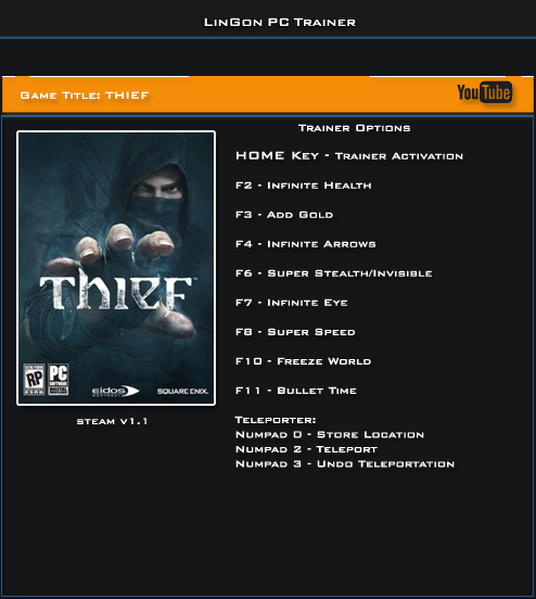 Thief v1.1 x32Bit Trainer +10 [LinGon]