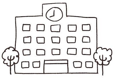 校舎のイラスト(学校) 白黒線画