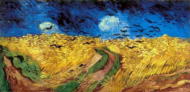 corvos em campo de trigo