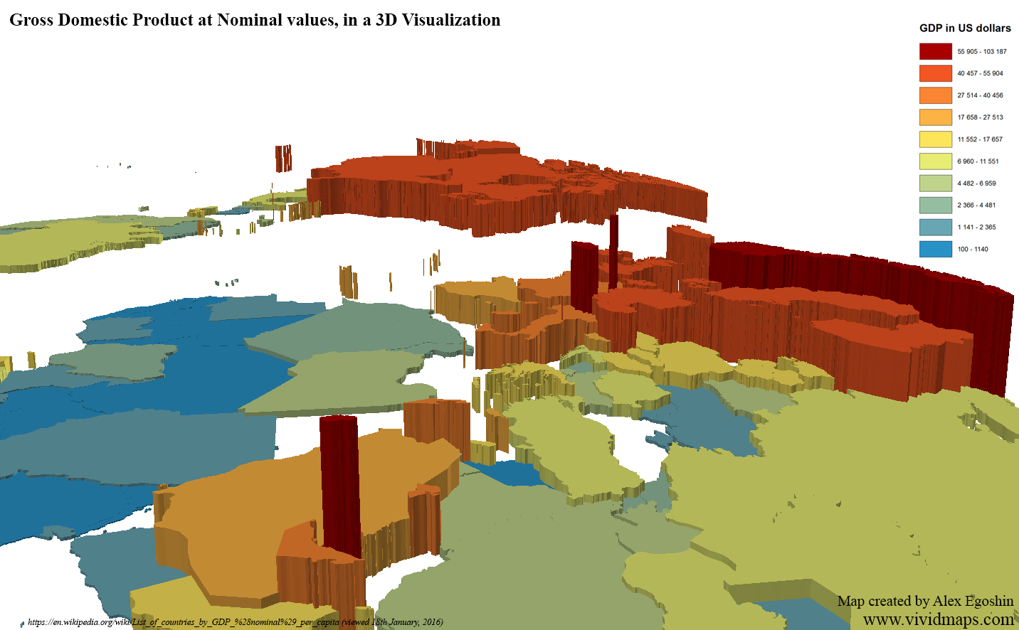 Gross Domestic Product at Nominal values in 3D Visualization