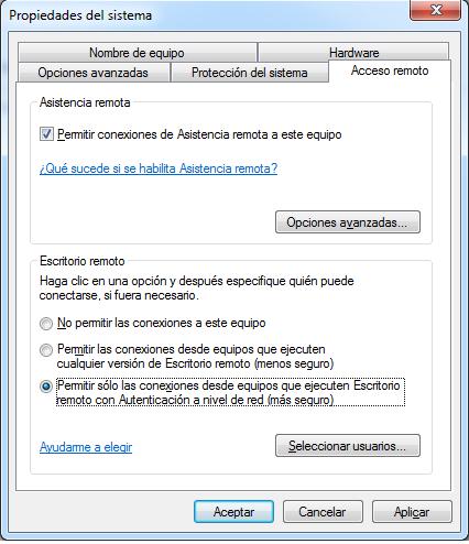 Permitir solo las conexiones desde equipos windows 7