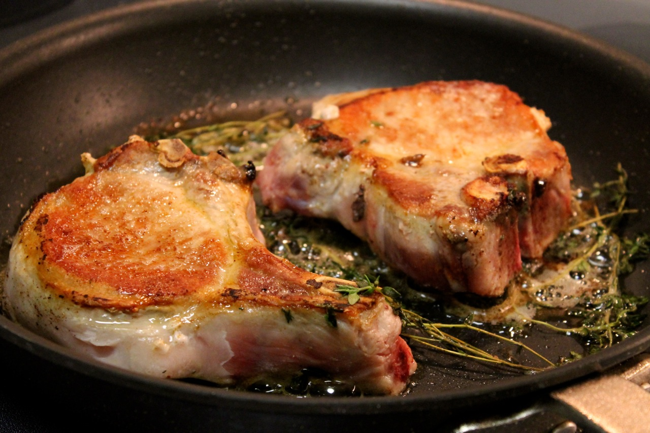 Pan-Seared Pork Chops with Thyme and Bacon Crumbs